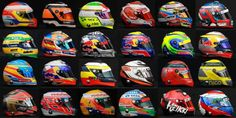 Caschi Piloti di Formula 1 2012 - Would love this collection of helmets in my showcase!! Let the 2012 Season BEGIN!