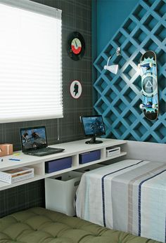 Recursos para cambiar de habitación: de niños a adolescentes – Deco Ideas Hogar Home Office Storage, Home Office Design, House Design, Office Style, Luxury Bedroom Furniture, Home Furniture, Single Apartment, Luxurious Bedrooms, Boy Room
