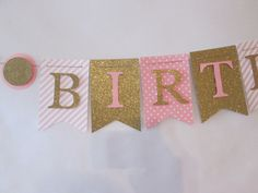Pink and glitter gold Happy birthday banner by Cresscreativecrafts