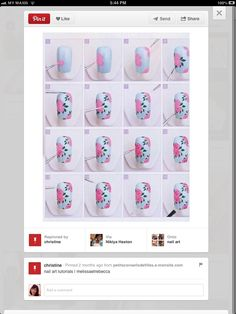 Floral nail art tutorial - just in time for spring Rose Nail Art, Floral Nail Art, Nail Art Diy, Diy Nails, Rose Nail Design, Daisy Nail Art, Nail Technician Courses, Nail Art Designs, Nail Art Supplies