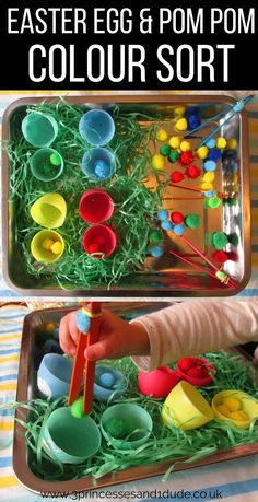 I've been busy lately making things out of our plastic Easter eggs, this pom-pom colour sort bin was very popular with my little monsters.