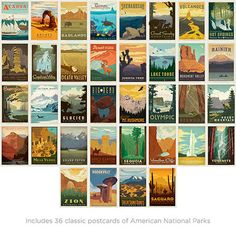 American National Parks Vintage-Style Postcard Set by Anderson Design Group on Scoutmob Shoppe - what's more fun than sending someone a postcard? receiving one, i guess :) Vintage Travel Posters, Vintage Postcards, American National Parks, National Park Posters, Parcs, Woodland Nursery, My New Room, Vintage Fashion, Vintage Style