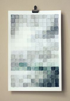 """Pixelated Watercolor.......Amanda Wright, a designer of """"stylish-y quirky"""" greeting cards and paper goods at Wit and Whistle in North Carolina, has shared a tutorial on her blog that shows how she created this very cool, pixelated painting. CHECK IT OUT"""
