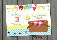 Picnic Birthday Invitation Summer Birthay Invitation Red Gingham