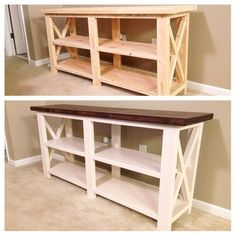 rustic furniture Rustic Wooden Console Table by GirlyBuilds on Etsy Western Furniture, Farmhouse Furniture, Unique Furniture, Rustic Furniture, Living Room Furniture, Cheap Furniture, Furniture Design, Furniture Decor, Furniture Stores