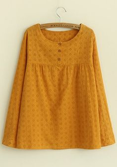 Yellow Hollow-out Long Sleeve Loose Cotton Blend Blouse