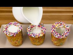 Milk and Cookie Shots with Rainbow Chocolate Chips from Cookies Cupcakes and Cardio - YouTube