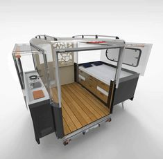 The brand-new Tipoon camper can sleep a family of four, fit in most garages, and. The brand-new Tipoon camper can sleep a family of four, fit in most garages, and expands at a push of a button. Petit Camping Car, Truck Camping, Camping Hacks, Camping Ideas, Camping Checklist, Camping Essentials, Family Camping, Tent Camping Beds, Retro Camping