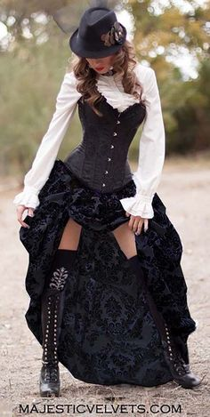 2pc Victorian Steampunk Black & Black Damask SATIN Corset w/Damask Bustle Skirt~Coming Soon