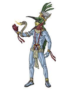 HUITZILOPOTCHLI  In the Aztec religion, Huitzilopochtli ( Nahuatl: Huītzilōpōchtli) , is a Mesoamerican deity of war, sun, and the patron of the city of Tenochtitlan. He was also the national deity of the Mexicas, (also known as Aztecs, of Tenochtitlan.)