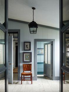 A Sag Harbor Home by Steven Gambrel - Katie Considers Painting Trim, Interior Trim, Dark Trim, Interior, Wood Doors Interior, Gambrel, Dark Interiors, Doors Interior, Painted Hardwood Floors
