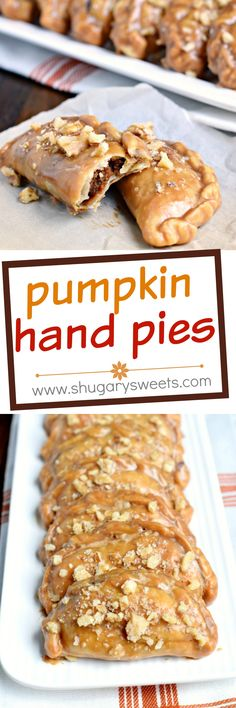 Pumpkin Hand Pies are the perfect fall treat! The flaky crust and nutty pumpkin pie filling are the perfect combo in a hand pie, plus they've got a wonderful maple walnut glaze! Pumpkin Recipes, Pie Recipes, Fall Recipes, Baking Recipes, Sweet Recipes, Pastry Recipes, Recipies, Köstliche Desserts, Delicious Desserts