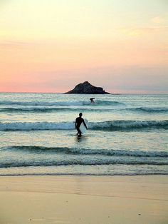 Surfing at Crantock Bay, Cornwall, England