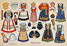 A beautiful vintage dress up paper doll by National Museum Of Play Online Collections. This is a Norske Bunader Paper Doll, with Norwegian National Costumes. Norwegian Christmas, Nordic Christmas, Norway Viking, Paper Art, Paper Crafts, Up Book, Thinking Day, Vintage Paper Dolls, Online Collections