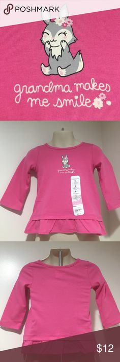 "NWT LS Girls Pink Tunic Available in 6 & 9 Months Super Cute Baby Girl Tunic LS on the front it has a smiling bunny with the saying ""grandma makes me smile🌸🌺 the bottom is ruffled Available in 6 & 9 months Comes from a smoke & pet free home, ships next business day thank you for visiting my Closet HAPPY POSHING💕 jumping beans Shirts & Tops"