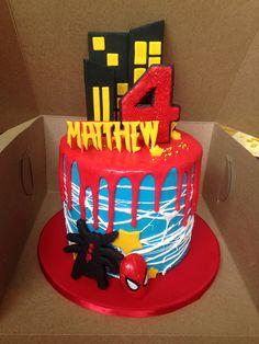 6 Inch Spider Man Drip Cake Drippy Cakes Sweetie Cake Chocolate Drip Cake