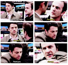 So much brotherly love. :-) this time between Cas and Gabriel.