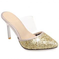 Sexy Sequins and Pointed Toe Design Slippers For Women