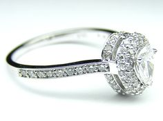 Pear Diamond Double Halo Engagement Ring  - ES459PS