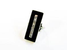 Art Deco Diamond and Onyx Ring