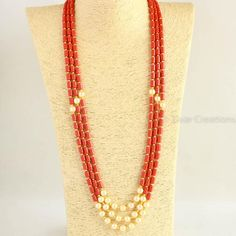 This beautiful coral colour beads necklace has combination with yellow pearls. Our karagir made this exclusive neck piece. For more query please contact me. Silver Jewellery Indian, Gold Jewellery Design, Bead Jewellery, Beaded Jewelry, Beaded Necklace, Gold Necklace, Bridal Jewelry, Handmade Jewellery, Emerald Bracelet