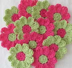 Hot Pink and Green Small Crochet Flowers for Scrapbooks or Sewing, 12 Handmade Appliques