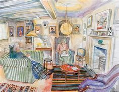 In the Old Parlour Richard Bawden Real People, Cat Art, Printmaking, Interior And Exterior, Illustrations, Original Artwork, Old Things, Gallery Wall, Watercolor