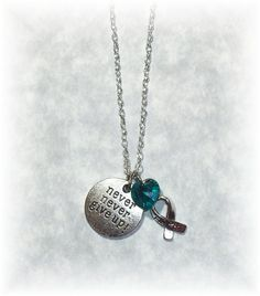 NEVER GIVE Up Teal Awareness Support Swarovski Crystal Heart Charm Necklace Jewelry - Ovarian Uterine Cervical Cancers - PCOS - Tourettes