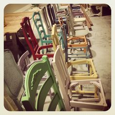 Chairs painted with Chalk Paint® decorative paint by Annie Sloan.