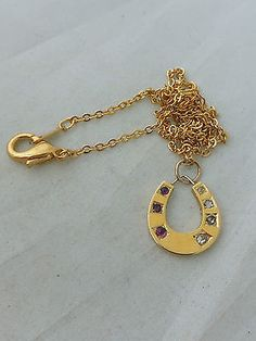 Stunning Victorian Ruby and Diamond 14ct gold lucky horseshoe pendant necklace