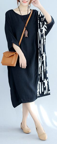 baggy black Midi-length cotton t shirt trendy plus size traveling clothing top quality batwing sleeve