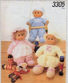 """dolls knitting pattern pdf download baby dolls clothes dolls outfit dungarees sweater bloomers skirt pinafore 16"""" doll DK light worsted 8ply by Minihobo on Etsy"""
