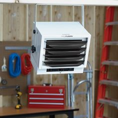 This ProFusion Heat Ceiling-Mounted Garage Heater keeps your garage comfortably warm all season long. The space-saving, ceiling&. Garage Workshop Plans, Garage Workshop Organization, Workshop Layout, Diy Garage Storage, Workshop Ideas, Storage Racks, Workshop Storage, Reading Workshop, Man Cave Garage