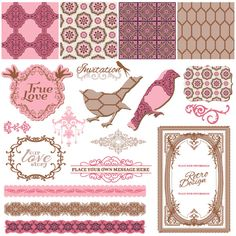 Vintage pattern ,lace,label and frames decor vector Collection 01