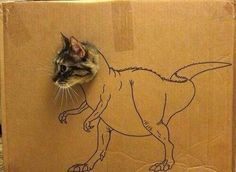 saw this cardboard cutout cat dinosaur post, and immediately ...