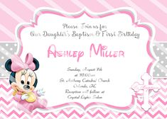 Baby Minnie Mouse Birthday Baptism Invitations You are buying a digital JPEG file of your Minnie Mouse Gifts, Minnie Mouse Birthday Decorations, Minnie Mouse Birthday Invitations, Minnie Mouse First Birthday, Minnie Mouse Baby Shower, Baby Birthday, Christening Party Favors, Christening Invitations, Safari Invitations