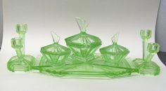 Bagley Bedford Art Deco Glass Vanity Set
