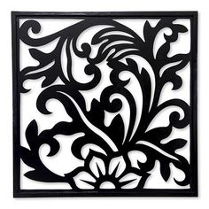 Balinese Floral Theme Wood Carving Wall Panel - Silhouette Garden | NOVICA