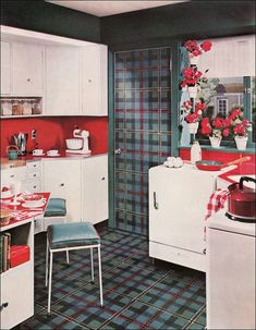 During the 1950s, there was an affinity for covering everything including doors and ceilings with matching materials. Even refrigerators could be covered! This Armstrong kitchen needs to be given credit for its design restraint.
