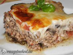 Muszaka - Rakott padlizsán Greece Food, Meatloaf, Lasagna, Tasty, Beef, Cheese, Ethnic Recipes, Fitt, Meals