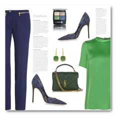"""""""Green and blue!"""" by bliznec ❤ liked on Polyvore featuring Versace, Miu Miu, Lanvin, Yves Saint Laurent, Isadora and BillyTheTree"""