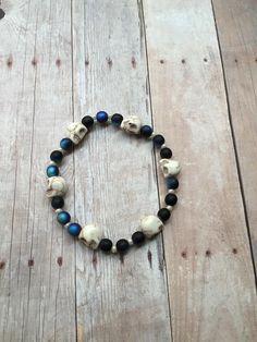 Skull Bracelet - White Stone Skulls Bracelet - Black Beaded Bracelet - Unisex Skull Bracelet - Halloween Bracelet - Gothic Skull Bracelet