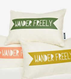 A reminder to keep an eye out for adventuresome opportunities, this adorably printed pillow is a cozy way to keep the spirit of summer around all year long. The banner design is screenprinted by hand from an original papercut design, and it appears in your choice of color on ivory organic cotton.