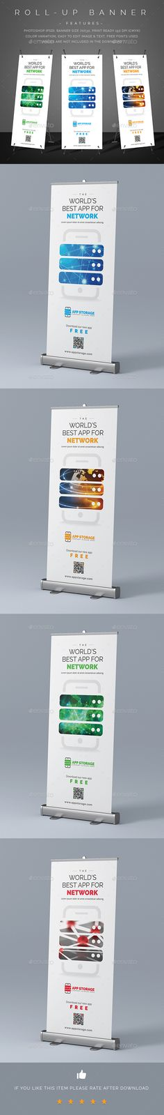 Mobile App Promotion Roll-Up Banner — PSD Template #display #sign #x-banner…