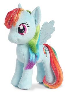 My Little Pony stuffed Rainbow Dash doll from Aurora has brushable hair with sparkly mylar accents. Featured in standing position, Rainbow Dash has embroidered eyes, mouth, and cutie mark. Mlp, My Little Pony Collection, Dash Dolls, Nail Art For Kids, Cheap Toys, Let The Fun Begin, Cute Toys, My Little Pony Friendship, Rainbow Dash
