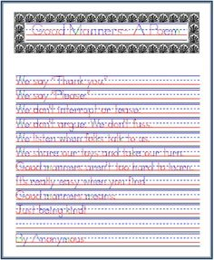 Good Manners- A Poem, Handwriting Practice from Startwrite