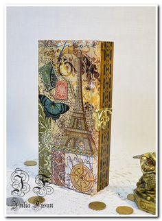 Cash box, Jewelry box, Wooden storage box, Wood box, Wood money box, Paris, Keepsake box, Trinket box, Wooden jewelry box, Money box by BiJuly on Etsy
