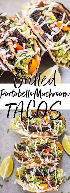 These vegetarian grilled portobello mushroom tacos are satisfying, healthy, TASTY, and make the perfect summer meal. #mushrooms #recipe #summer