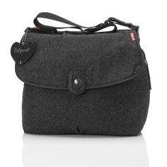 #Babymel #Satchel Tweed Grey Baby Nappy Changing Bag with Mat & Bottle Holder