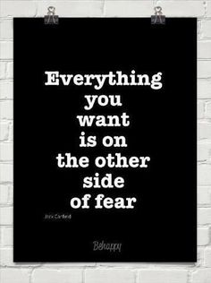 """Everything you want is on the other side of fear."" -Jack Canfield #tbt"